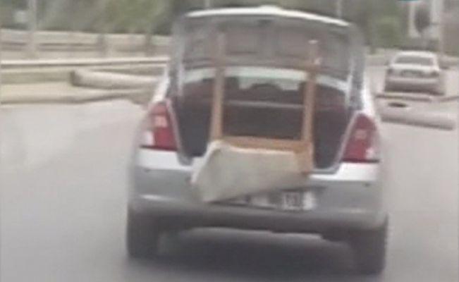 Akan trafikte aracın bu görüntüsü pes dedirtti