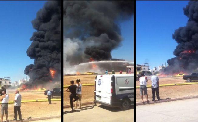Doğalgaz tesisat boruları alev alev yandı