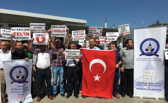 Arakan'da Müslümanlara yapılan katliam protesto edildi