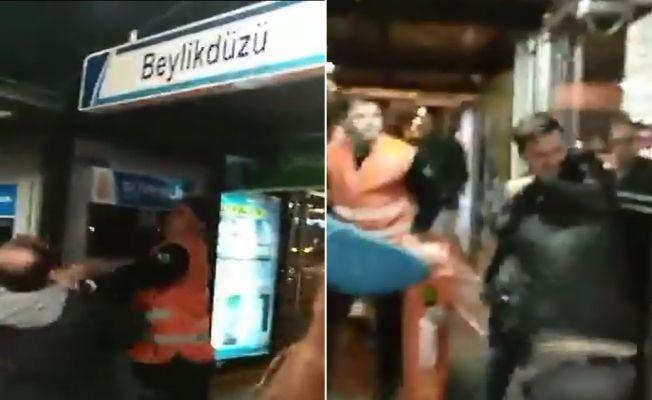 İncirli metrobüs durağında kavga oldu