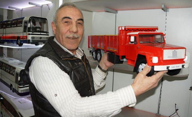 Torunları için yaptığı maket araçları şimdi yurt dışına satıyor