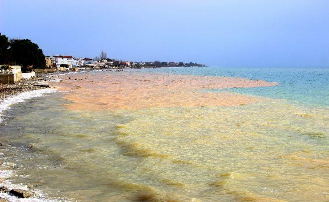 Balıkesir Edremit'te deniz iki renge büründü