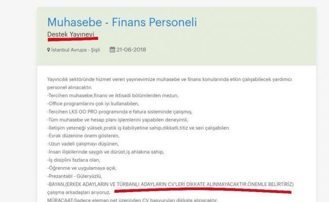 Skandal iş ilanı: Başörtülülere ayrımcılık !