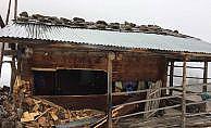 Ayılar ahşap evleri parçaladı