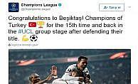 UEFA'dan şampiyon Beşiktaş'a tebrik