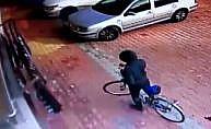 Bisikletli çocuk hırsız kameraya takıldı