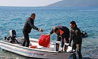 Deniz dibi temizlik çalışmaları Yalıçiftlik'te devam etti